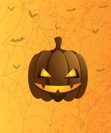 the picture with pumpkin on an orange background with a web