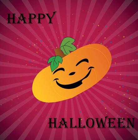 cheerful pumpkin on a festive card with beams