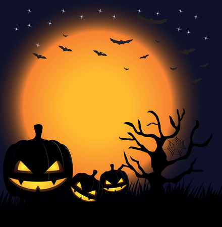 pumpkins against a dark background with the moon and bats
