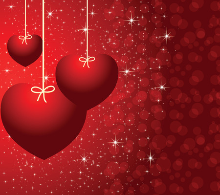 the red picture with three beautiful hearts Illustration