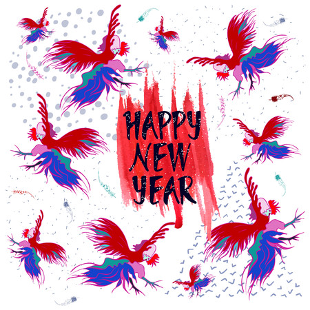 cocky: A stylized drawing of a silhouette of a rooster. Handwritten text Happy new year. Vector design. Illustration