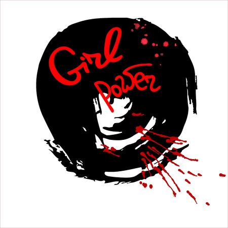 feminist: Handwritten text Girl power   Feminism quote. Feminist saying. Brush lettering. Black abstract  stain.  Vector design.