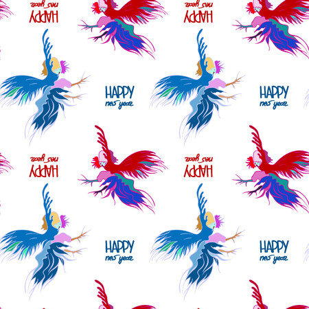 scribe: Silhouette of a rooster .  Cock sketch, hand drawing. Symbol of New Year 2017. Illustration for a  wrapping paper,  wallpaper. Christmas background. Seamless vector pattern. Illustration