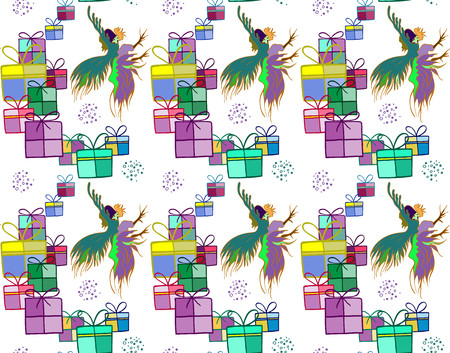 cocky: Silhouette of a rooster .  Cock sketch, hand drawing. Symbol of New Year 2017. Illustration for a  wrapping paper,  wallpaper. Christmas background. Seamless vector pattern. Illustration