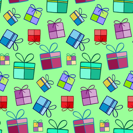 giftware: Christmas background. Boxes for gifts.  Illustration for a  wrapping paper,  wallpaper.  Elements for winter holiday card. Green  background.   Seamless vector pattern.