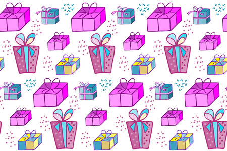 giftware: Holiday gift wrapping. Boxes for gifts. Illustration for a wrapping paper, wallpaper. Christmas background. Seamless vector pattern. Illustration
