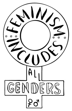 genders: Feminism includes all genders. Feminism quote. Brush lettering. Vector design. Illustration