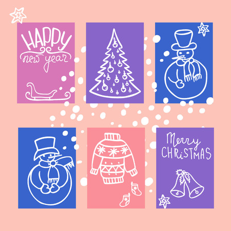 Winter`s holiday cards set. Season`s greeting handwritten calligraphy. Christmas tree, snowman and Christmas bell. Vector design. Illustration