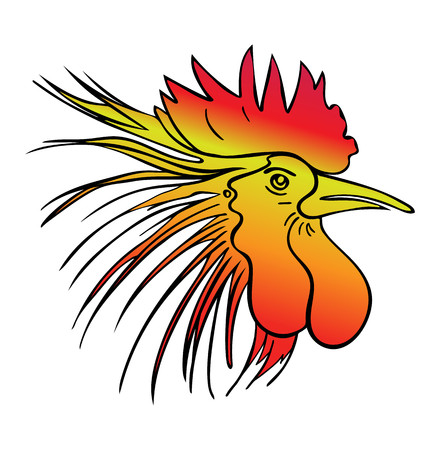 Silhouette of a rooster head. Cock sketch, hand drawing. Symbol of New Year 2017. Vector. Color illustration, stylization Illustration