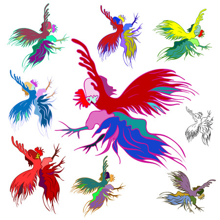 scribe: Silhouette of a rooster. Elements for Christmas cards. Vector design. Isolated on white background.