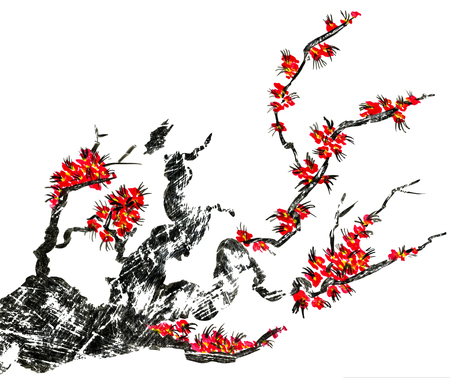 A branch of a blossoming tree. Pink flowers of sakura . Watercolor and ink illustration in style sumi-e, u-sin. Oriental traditional painting.  Isolated on white background. Stock Photo