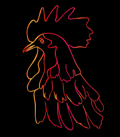 cocky: Silhouette of a rooster head.  Cock sketch, hand drawing. Symbol of New Year 2017. Vector. Color illustration, stylization