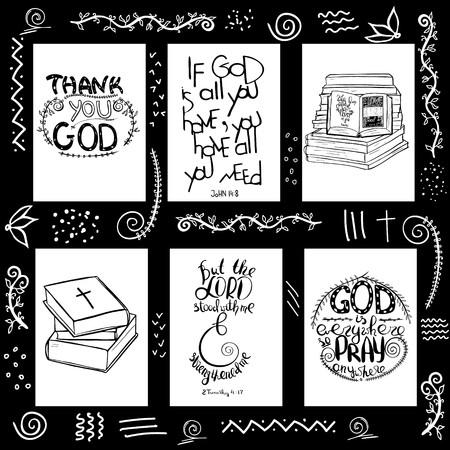 Eine Reihe von Zitaten aus der Bibel. Bücher und Bibelbeschriftung. Pinsel Kalligraphie. Handzeichnung Abbildung. Worte über Gott. Vektor-Design.