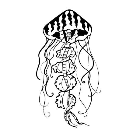 Vector painting jellyfish. Medusa Illustration isolated on white background, element tattoo design, cartoon, doodle. Vector Illustration