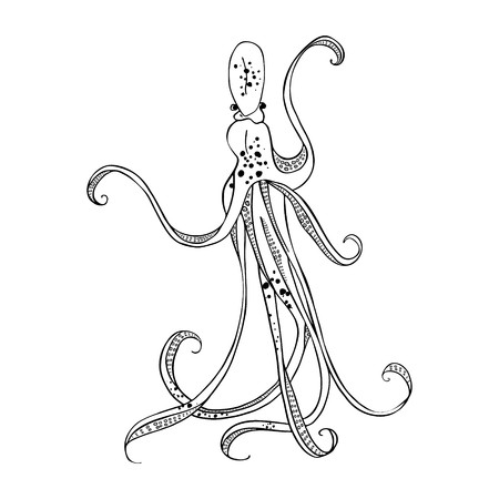 Giant octopus with eight tentacles floating in the ocean depths. Hand drawing. Vector illustration. Isolated on the white background. Ilustracje wektorowe