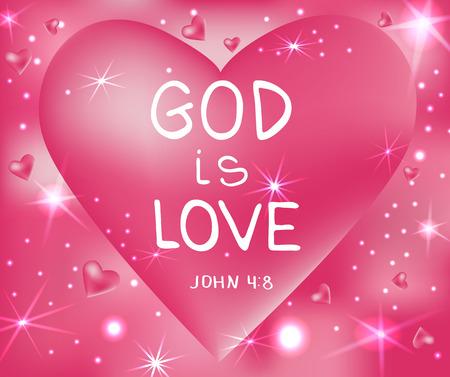 God is love . Bible lettering.  Brush calligraphy.  Hand drawing illustration.  Words about God. Vector design. Illustration