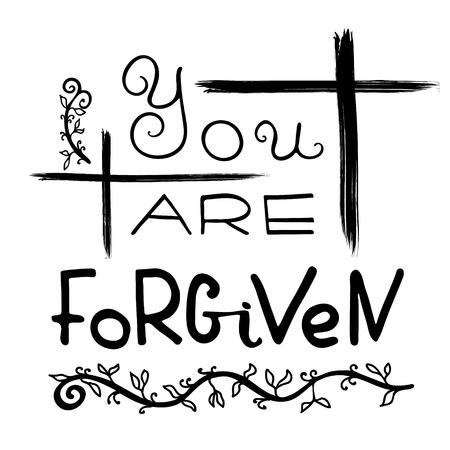 Ich verzeih dir. Bibel-Schriftzug. Pinsel Kalligraphie. Worte über Gott. Das Symbol der christlichen Religion. Vektor-Design. Handabbildung. Vektorgrafik