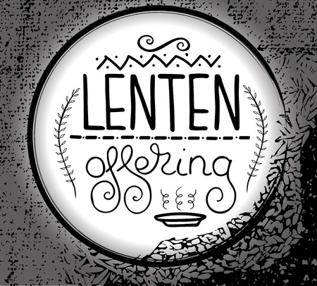 Handwritten word Lenten offering. Start of fasting, The symbol of the Christian religion. Vector design. Hand illustration.
