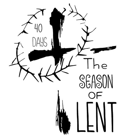 Handwritten word The season of Lent. 40 days.  Start of fasting, The symbol of the Christian religion. Vector design. Hand illustration.