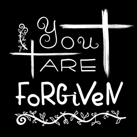 Vous êtes pardonné. Lettrage biblique. Calligraphie au pinceau. Paroles sur Dieu. Le symbole de la religion chrétienne. Conception de vecteur. Illustration de la main. Vecteurs