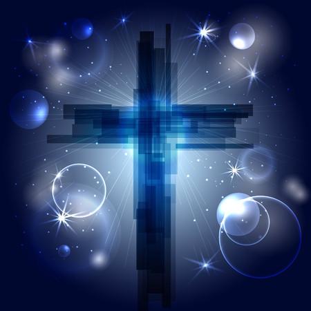 Croix abstraite avec rayons, étoiles et particules. Le symbole de la religion chrétienne. Conception de vecteur. Ciel nocturne, espace.