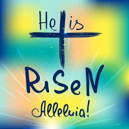 Croix abstraite avec des rayons. Il est ressuscité. Alléluia. Lettrage biblique. Calligraphie au pinceau. Paroles sur Dieu. Conception de vecteur. Vecteurs