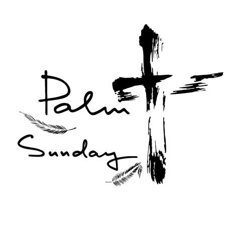 Domenica delle Palme. Lettere della Bibbia. Settimana della passione. Calligrafia a pennello. Parole su Dio. Il simbolo della religione cristiana. Disegno vettoriale. Illustrazione della mano.