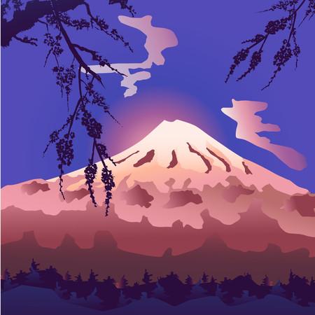 Stylized Mount Fuji in Japan. Landscape. Vector design. Silhouette of a flowering sakura branch