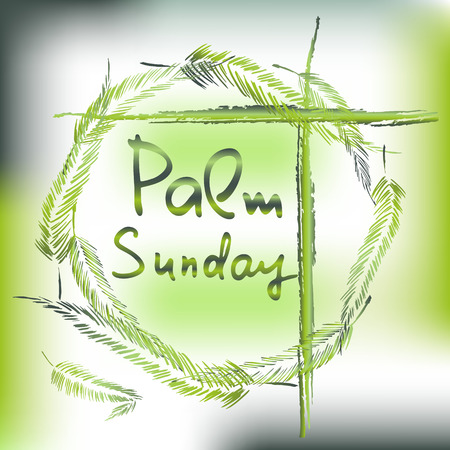 Palm Sunday.  Bible lettering.    The symbol of the Christian religion. Vector design. Stock fotó - 110007508
