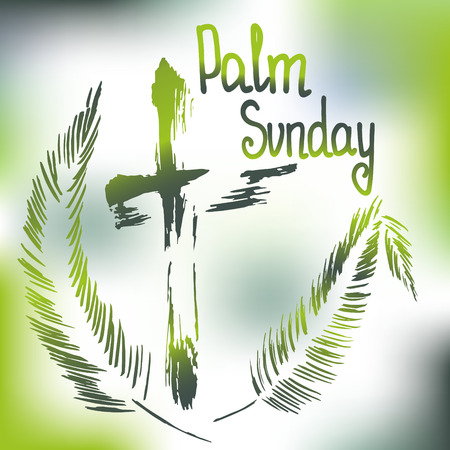 Palm Sunday.  Bible lettering.    The symbol of the Christian religion. Vector design. Stock Vector - 110007509