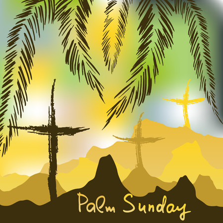 Palm Sunday.  Bible lettering.    The symbol of the Christian religion. Vector design. Stok Fotoğraf - 110007514