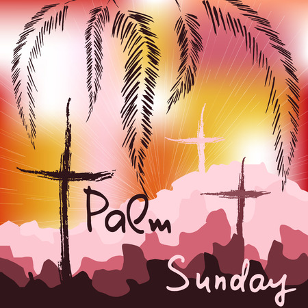Palm Sunday.  Bible lettering.    The symbol of the Christian religion. Vector design. Stok Fotoğraf - 110007511