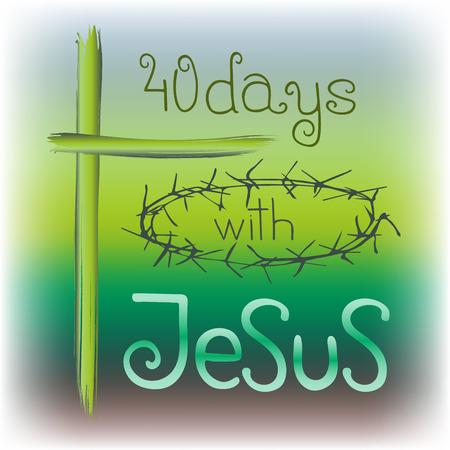 40 jours avec Jésus. Lettrage biblique. Calligraphie au pinceau. Paroles sur Dieu. Début du jeûne, Le symbole de la religion chrétienne. Conception de vecteur. Illustration de la main. Vecteurs