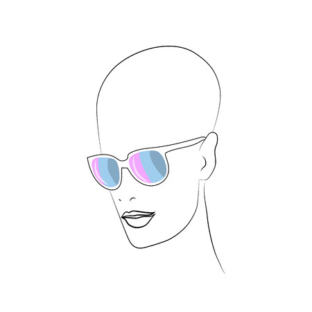 Stylized face with glasses using original colors for intersexl.   Unconventional sexual orientation for LGBT gay and lesbian parade. Vector , t-shirt print design Ilustração