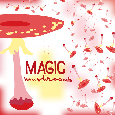 Magic mushrooms  . Flat style for web vector illustration