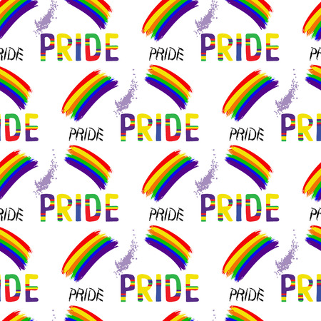 Colored rainbow letters of the handwritten text Pride. Seamless pattern on the theme of LGBT parade, vector design