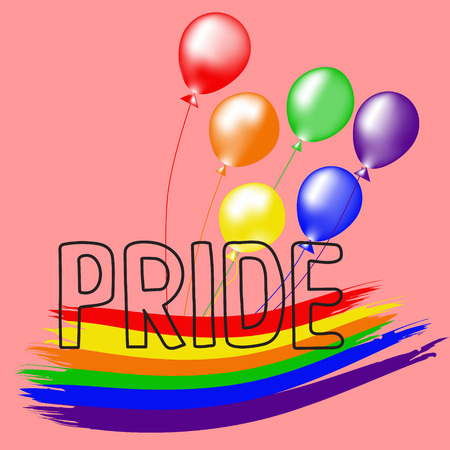 Colored rainbow balls and handwritten text Pride.  Rainbow background LGBT  multicolored flag.  Original symbol for gay parade. Vector design Ilustrace