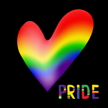 Rainbow heart .  Text Pride.  Original symbol for gay parade. Vector design