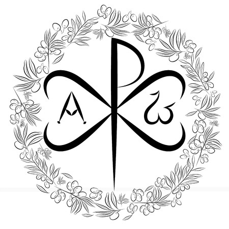 Chi Ro , Chrisma or Chrismon. Monogram of the name of Christ. I am Alfa and Omega. Biblical lettering. olive tree as a symbol of eternal peace in Christian religion. Vector design.