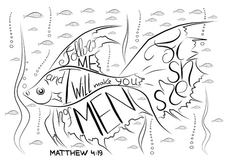Fishers of men. Bible lettering. Ichthys is a symbol of fish. The ancient acronym of the name of Jesus Christ, Messiah, God in Christian religion.  Vector design Ilustração
