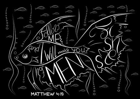 Pescadores de hombres. Letras de la Biblia. Ichthys es un símbolo de pescado. El acrónimo antiguo del nombre de Jesucristo, Mesías, Dios en la religión cristiana. Diseño vectorial