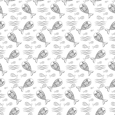 Fishers of men. Bible lettering. Ichthys is a symbol of fish. The ancient acronym of the name of Jesus Christ in Christian religion.  Vector design. Seamless pattern, Ilustração