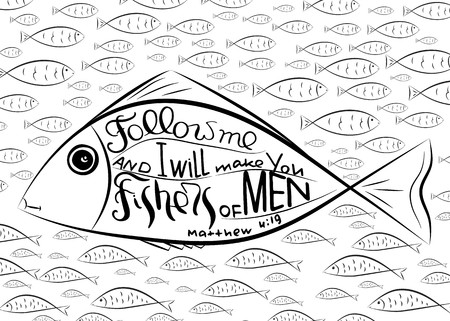 Fishers of men. Bible lettering. Ichthys is a symbol of fish. The ancient acronym of the name of Jesus Christ in Christian religion.  Vector design