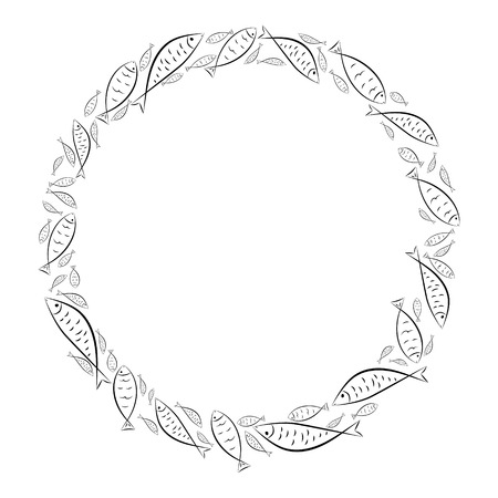 Circle frame. Ichthys is a symbol of fish. The ancient acronym of the name of Jesus Christ in Christian religion.  Vector design Ilustração
