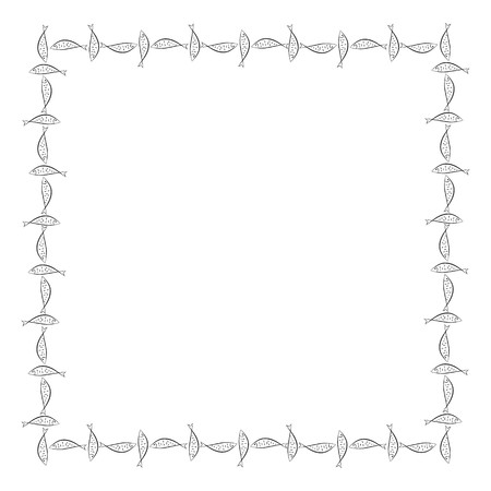 Rectangular frame. Ichthys is a symbol of fish. The ancient acronym of the name of Jesus Christ in Christian religion.  Vector design Ilustração