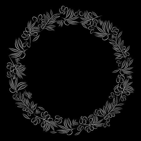 Round frame. . Olive tree as a symbol of eternal peace in Christian religion. Vector design. Ilustração