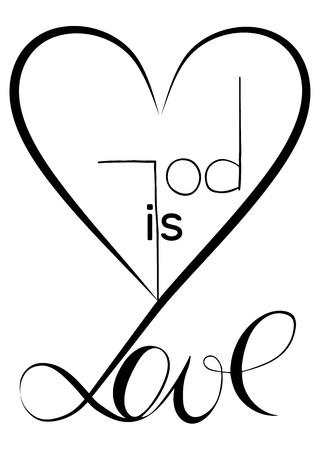 God is love. Vector design. Graphic Illustration Ilustração