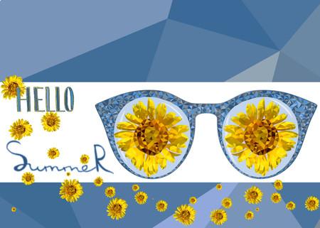 Banner with low poly yellow sunflower and glasses . Handwritting text Hello summer. Blue polygonal background. Vector design. Geometric triangular modern illustration. Ilustração Vetorial
