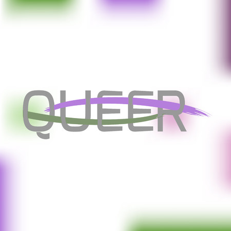 Text Queer using original colors for gay parade. Unconventional sexual orientation. Vector design