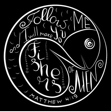 Folgen Sie mir. Bibel-Schriftzug. Ichthys ist ein Symbol für Fische. Das alte Akronym des Namens von Jesus Christus, Messias, Gott in der christlichen Religion. Vektordesign